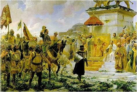 Almogávares desfilando en Constantinopla
